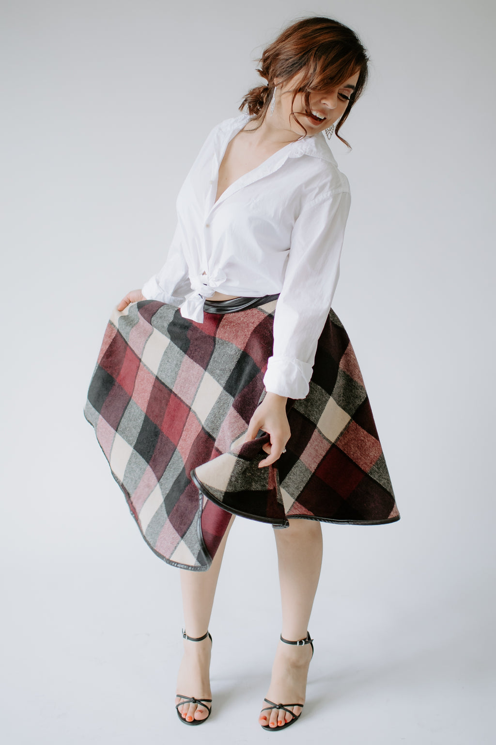 Sweet Notes Plaid Pleather Trim Circle Skirt