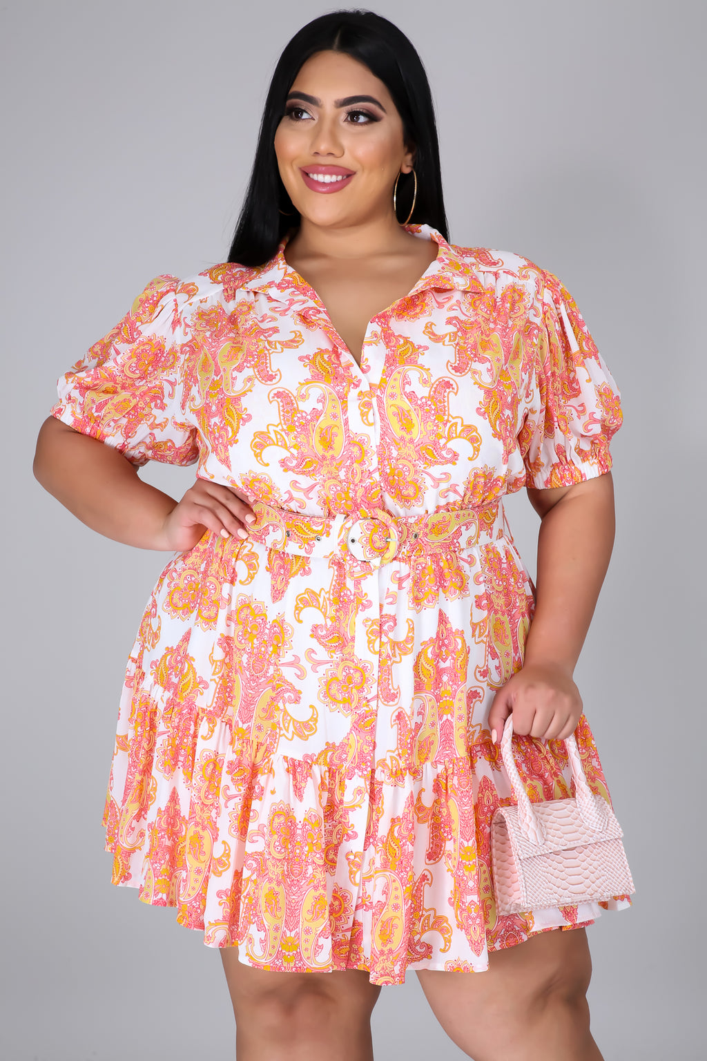 Paisley Appeal Puff Sleeve Dress