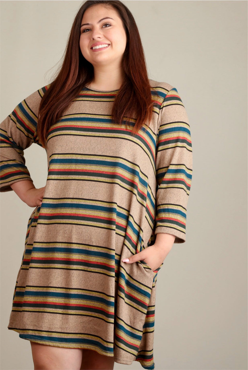 Lexi Taupe Brown Striped T-Shirt Swing Dress