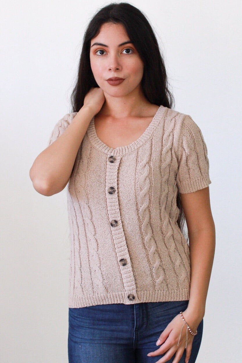 Simply Cute Cable-knit Button Front Top