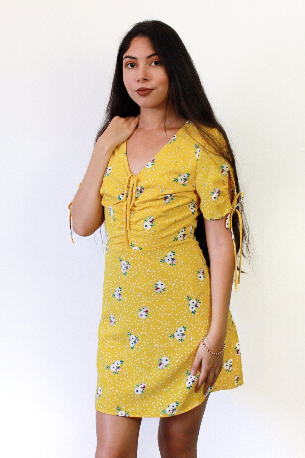 Sunny Demeanor Yellow Floral Print Dress