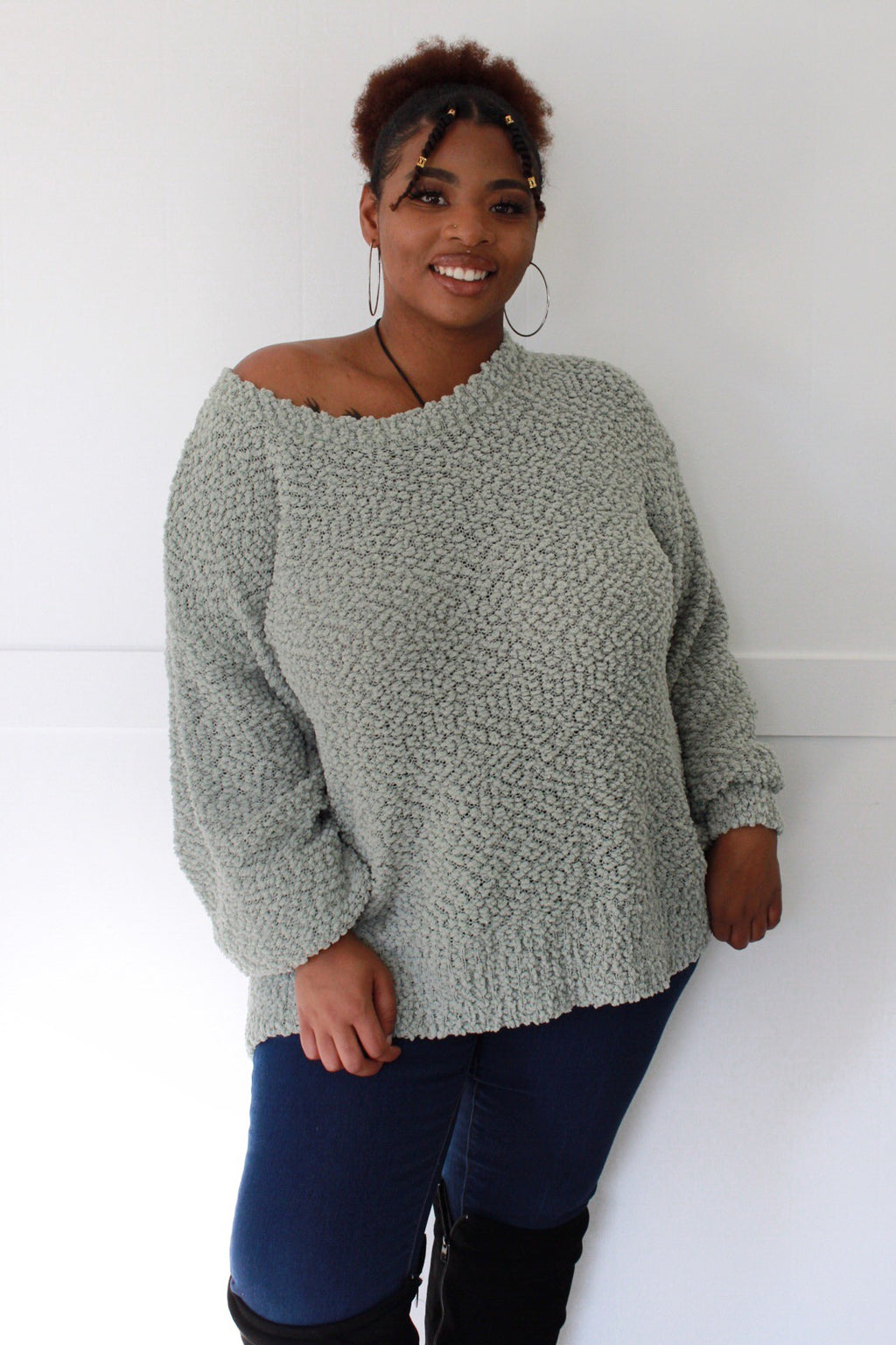 Sage Oversized Popcorn Sweater