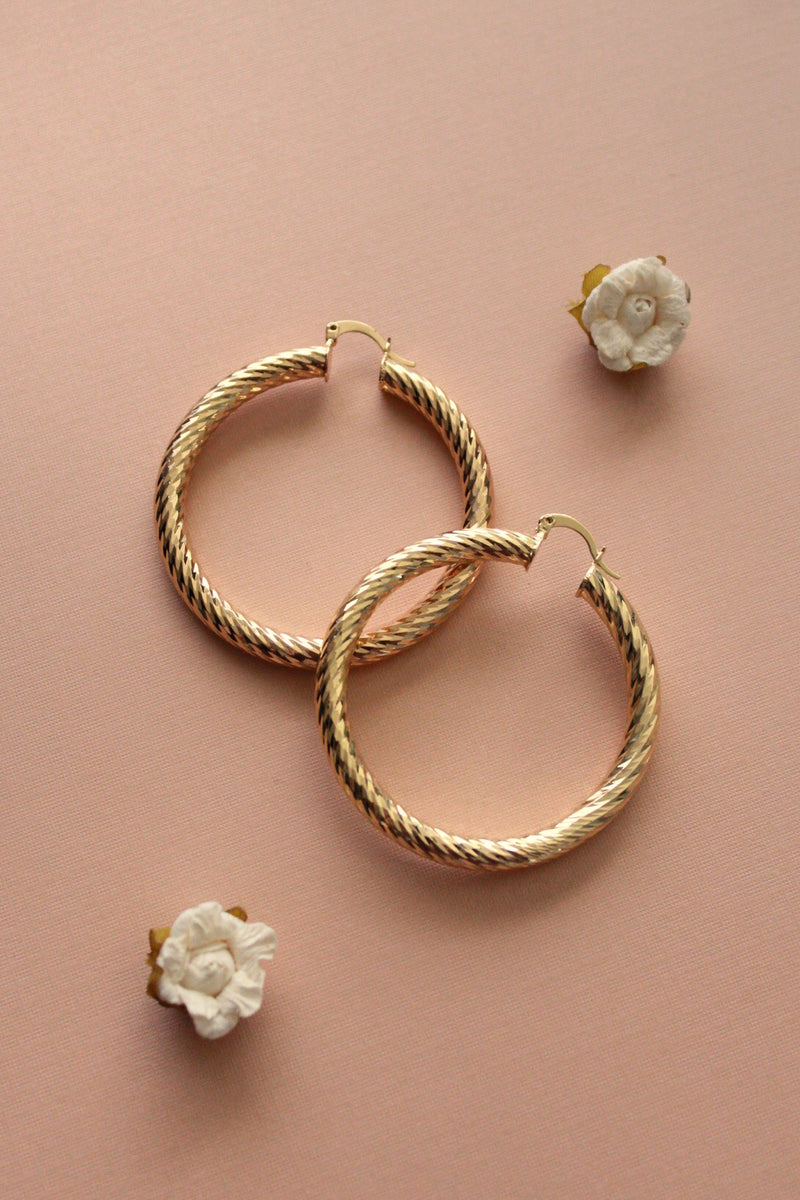 Alba Chunky Textured Hoop Earrings