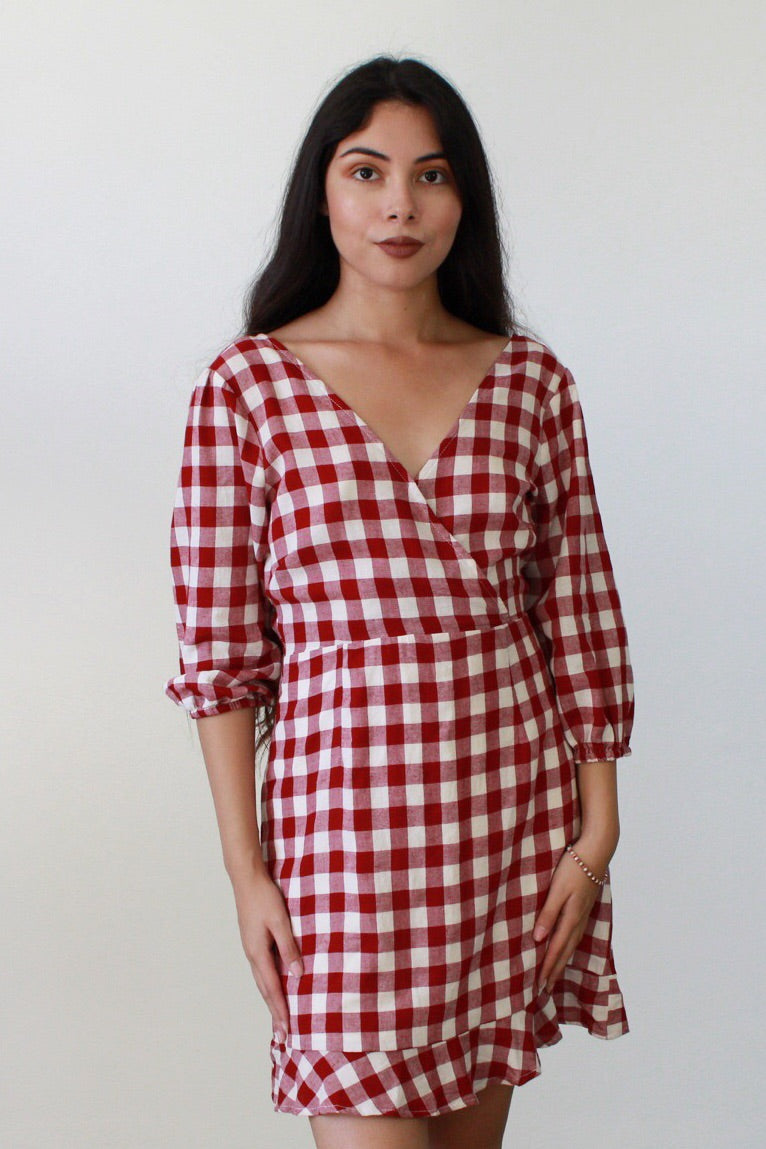 Gingham Attitude Tie Back Dress