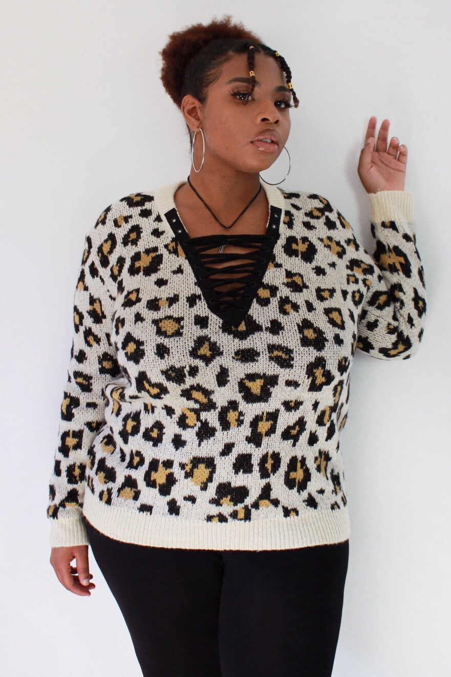 Wild Thing Animal Print Lace-up Sweater