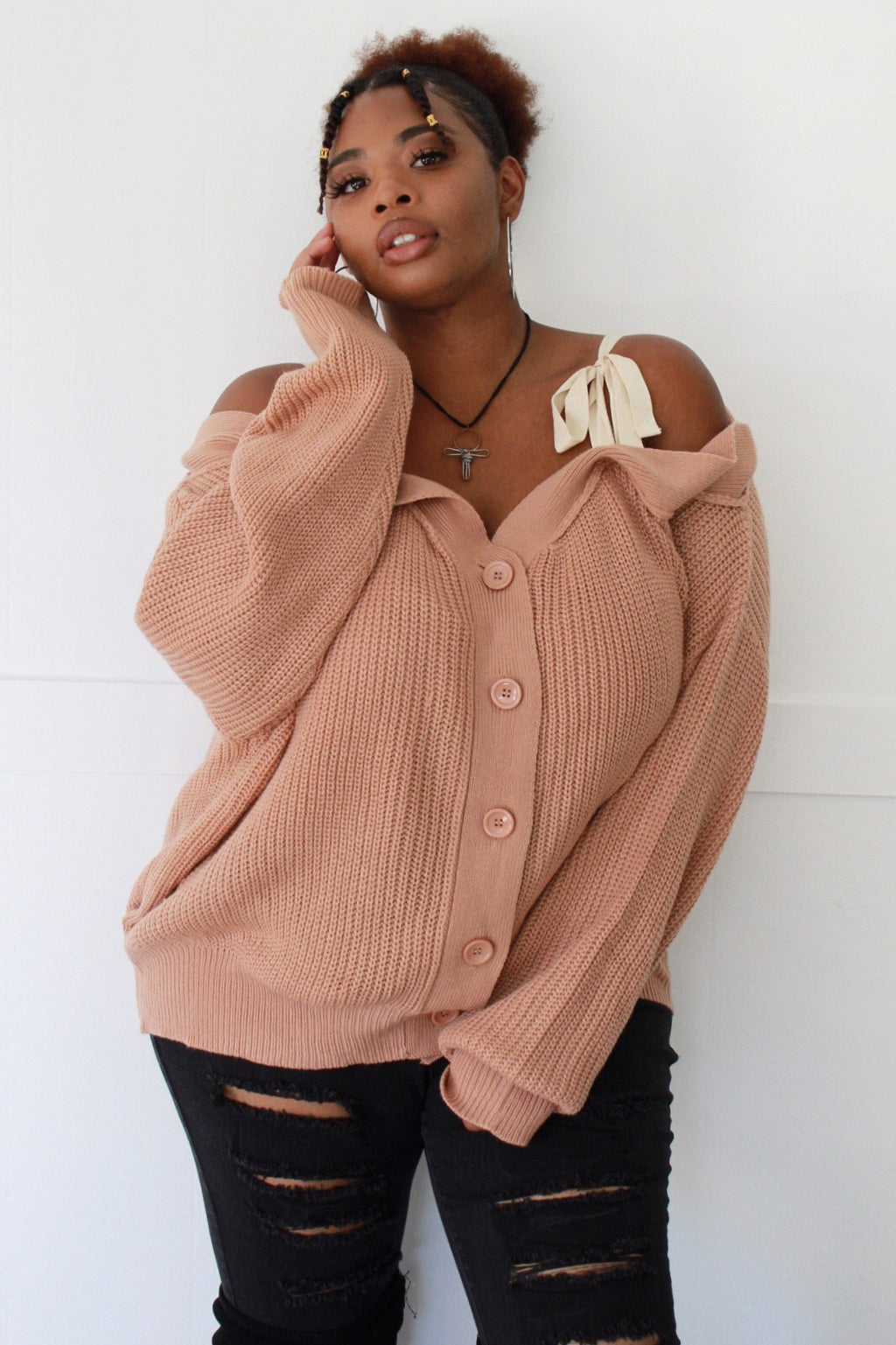 Tie About It Off-the-Shoulder Cardigan