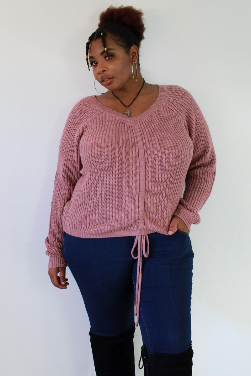 Mauve About You Front Tie Sweater
