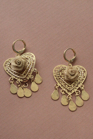 Beloved Heart Rose Dangle Earrings