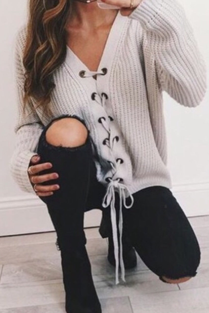 Corina Oversized Lace-up Front Sweater