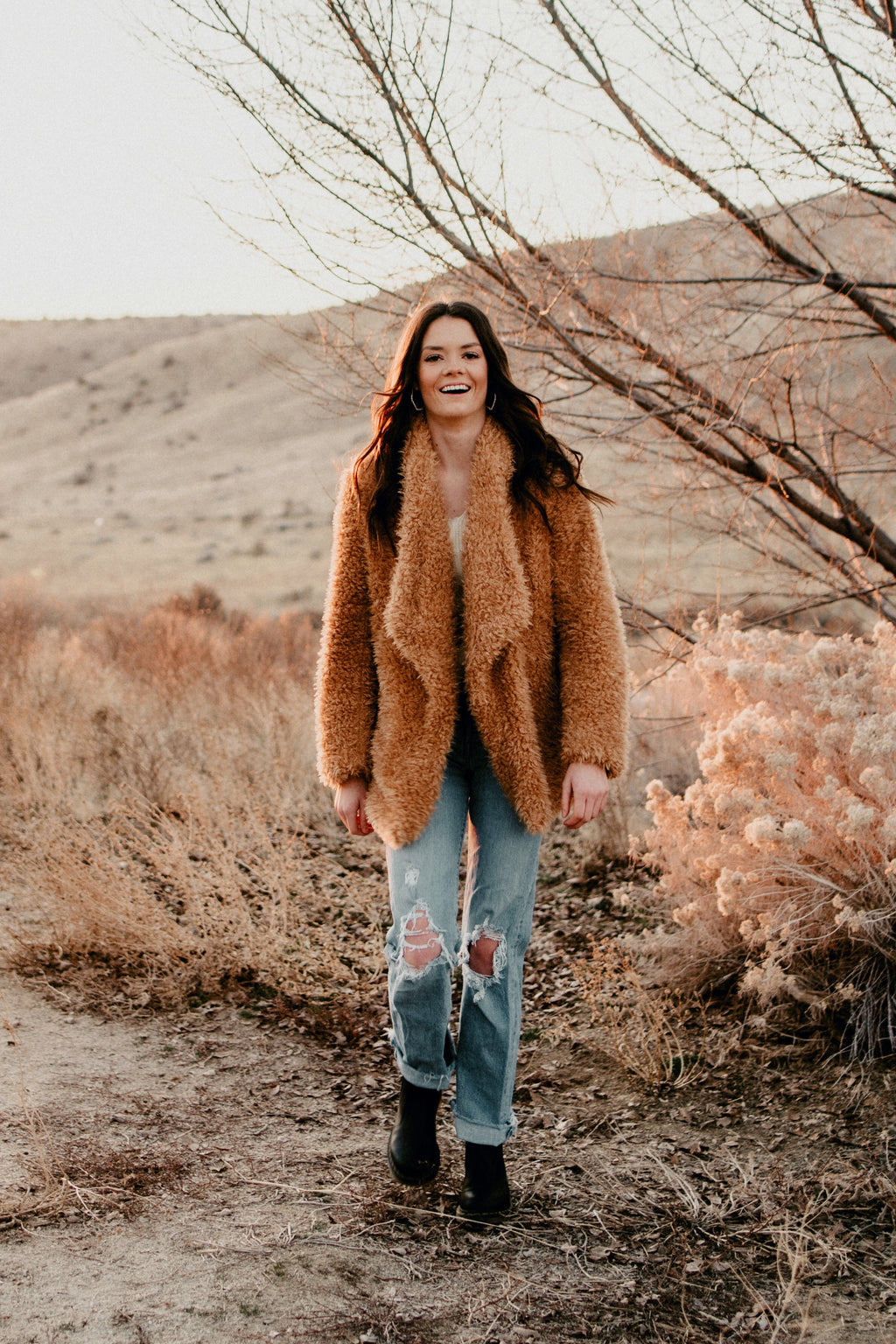 Olivia Camel Faux Fur Shaggy Jacket Coat