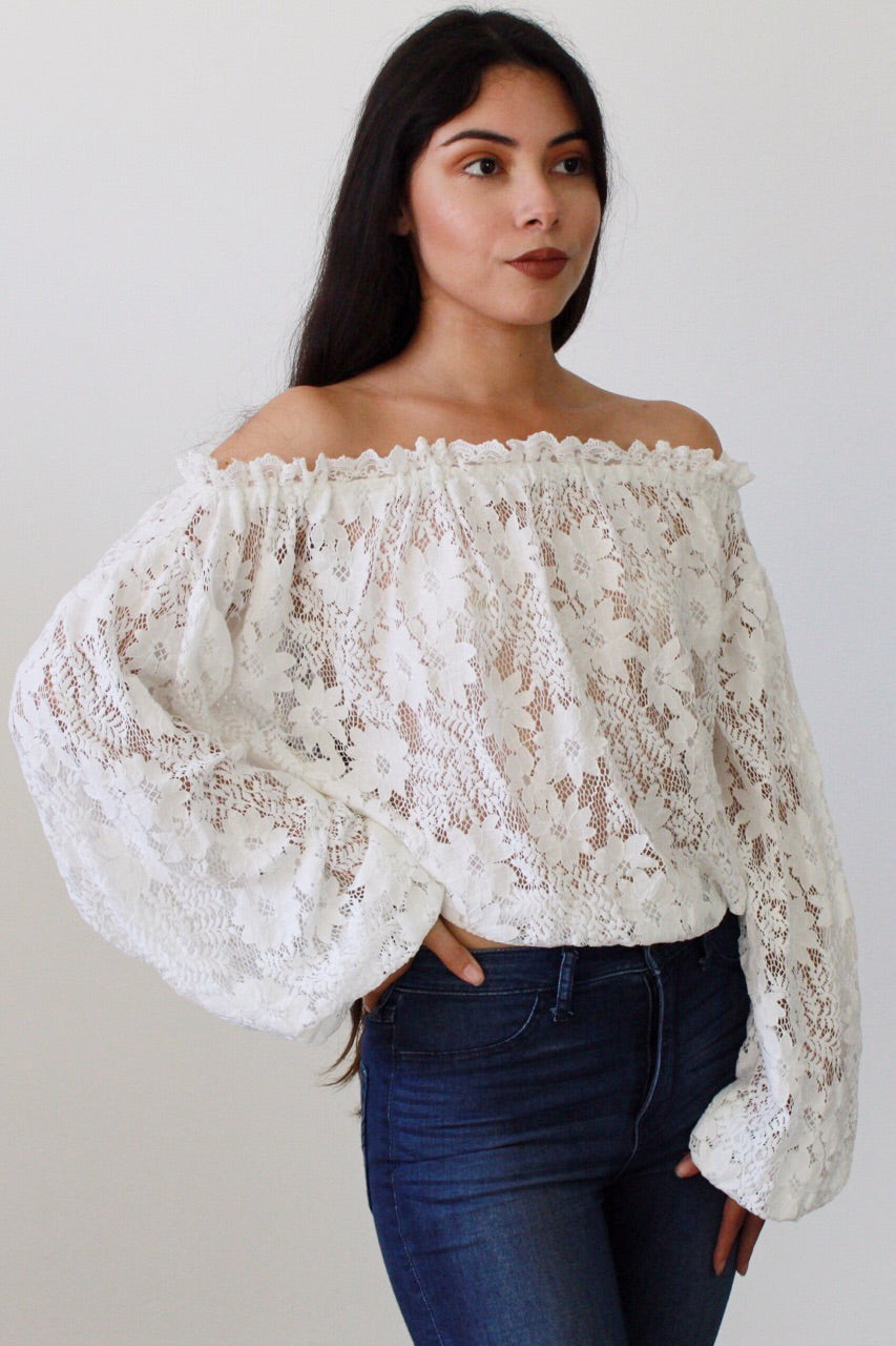 Free Spirit Floral Lace Off-the-Shoulder Top