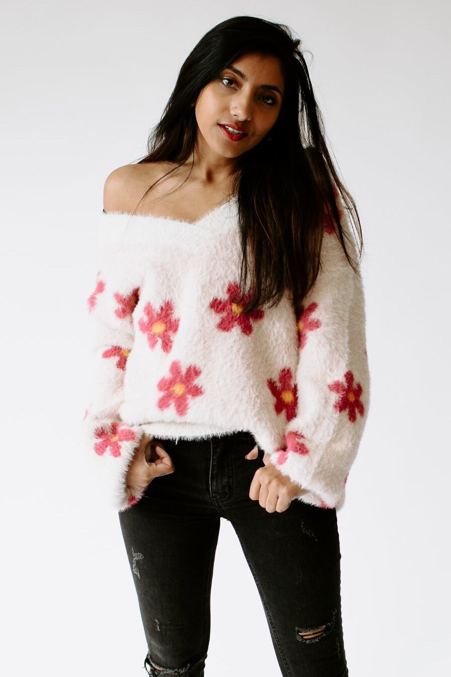 Flower Power Fuzzy Oversized Sweater
