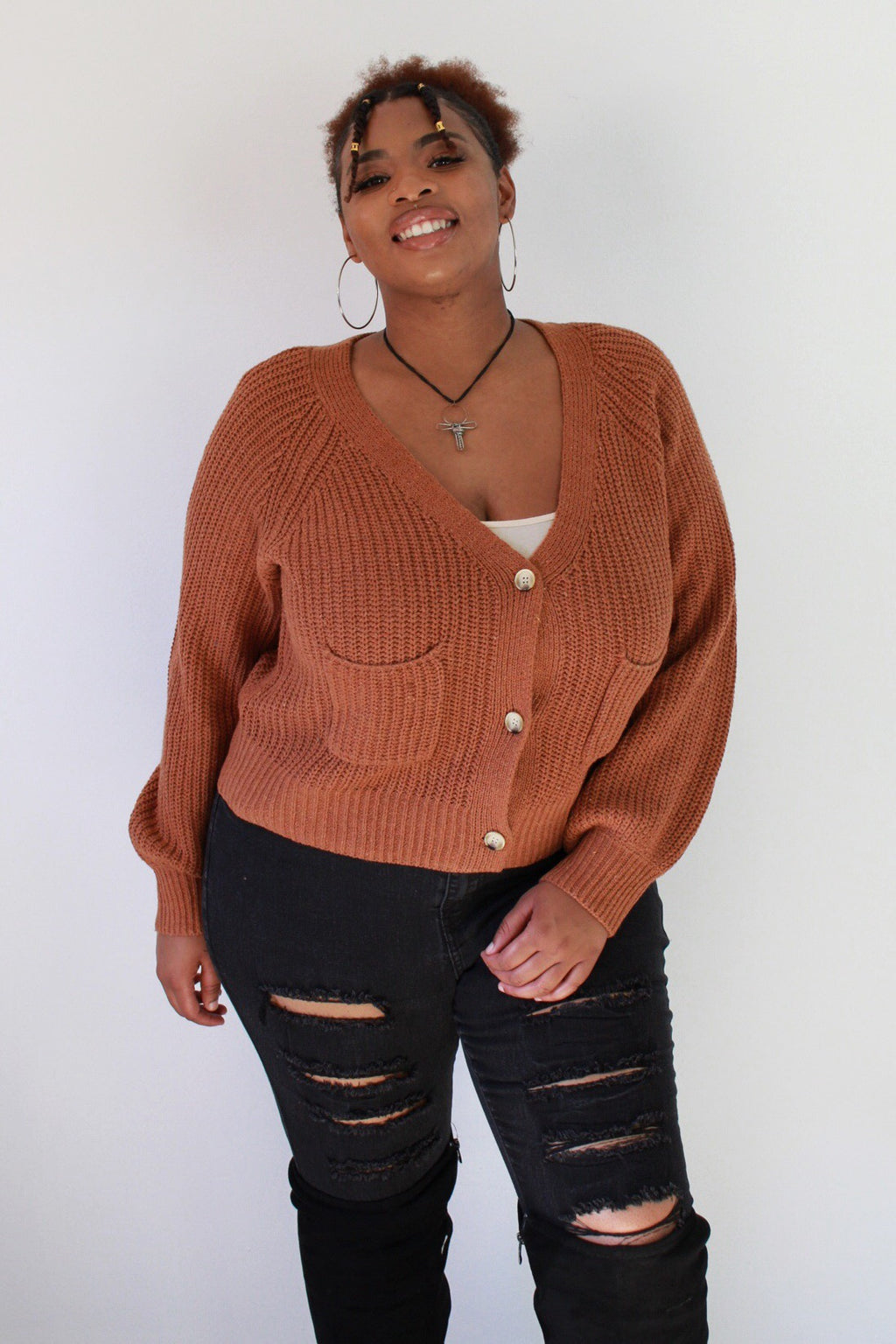 Cozy Days Cropped Chunky Cardigan