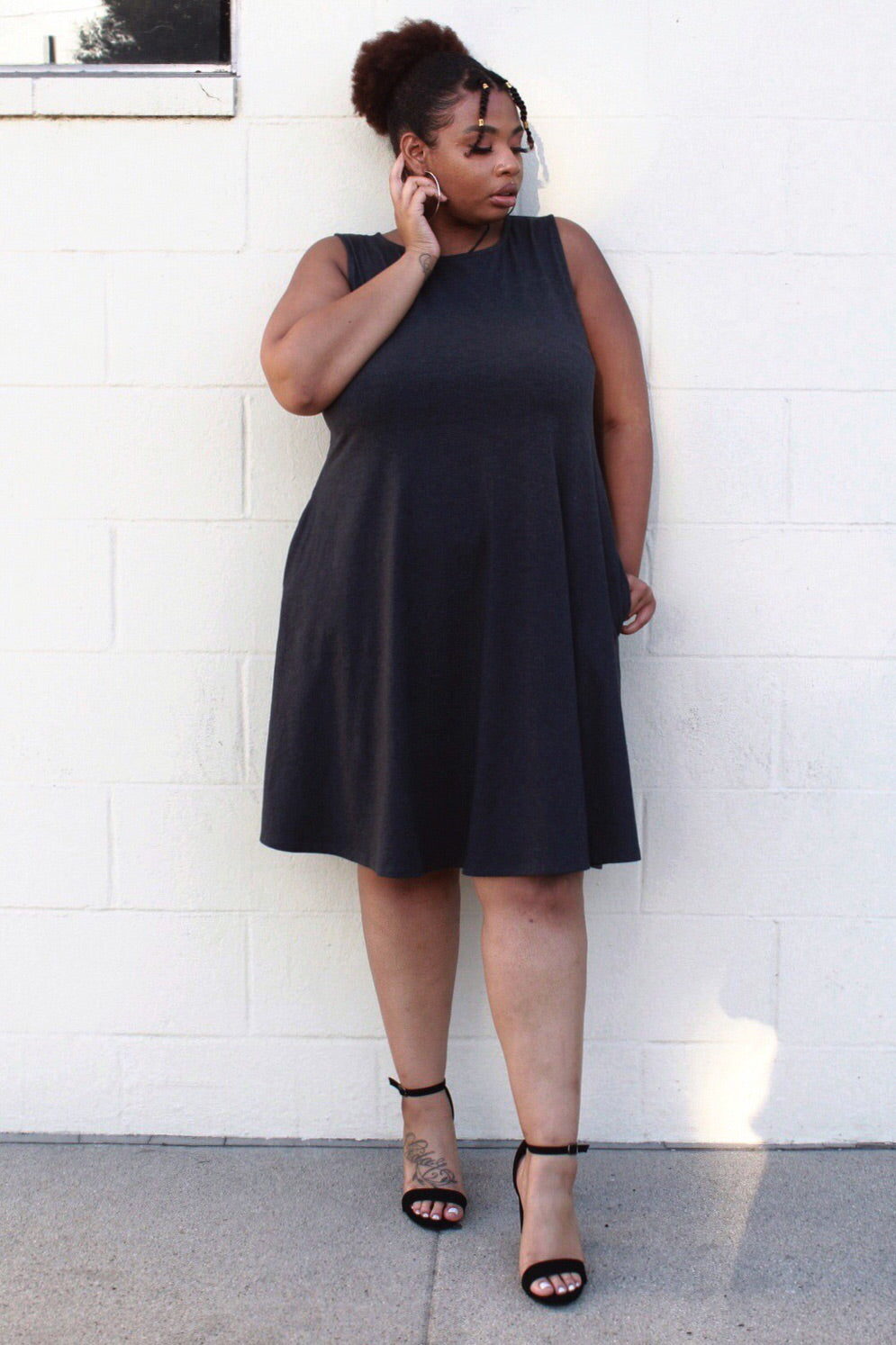 Classic Tank Dress in Charcoal