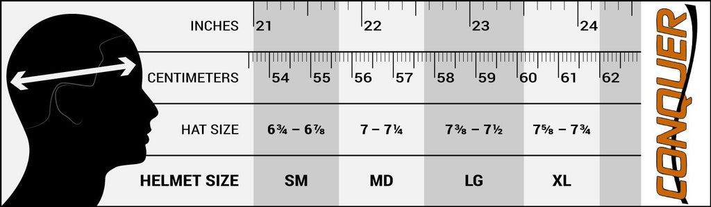 Conquer Open Face Sizing Chart