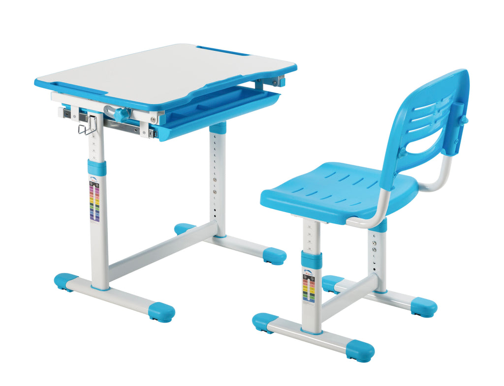 Conquer Kids Desk and Chair Set, Height Adjustable Children's School Workstation with Storage