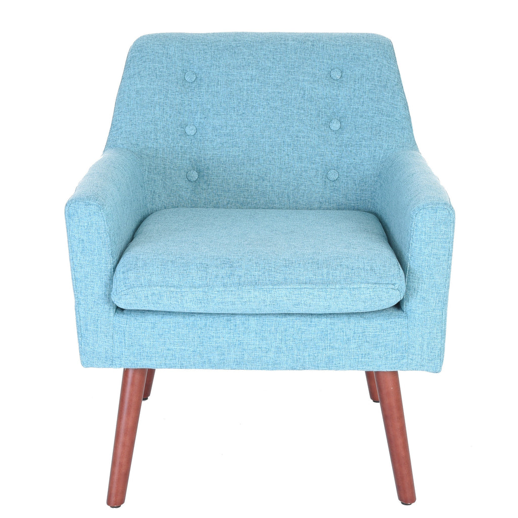 Zenvida Accent Arm Chair Modern Upholstered Button Tufted Fabric Solid Wood Legs