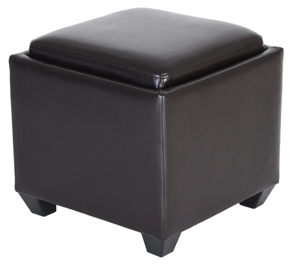 Zenvida Square Storage Ottoman With Tray, Small Cube Footstool