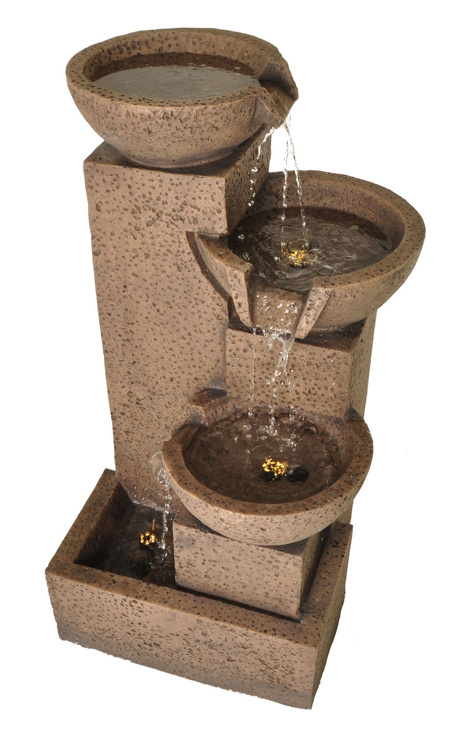"Zenvida Tiered Bowl Cascading Waterfall Outdoor Garden Fountain 35"" Sandstone Finish"