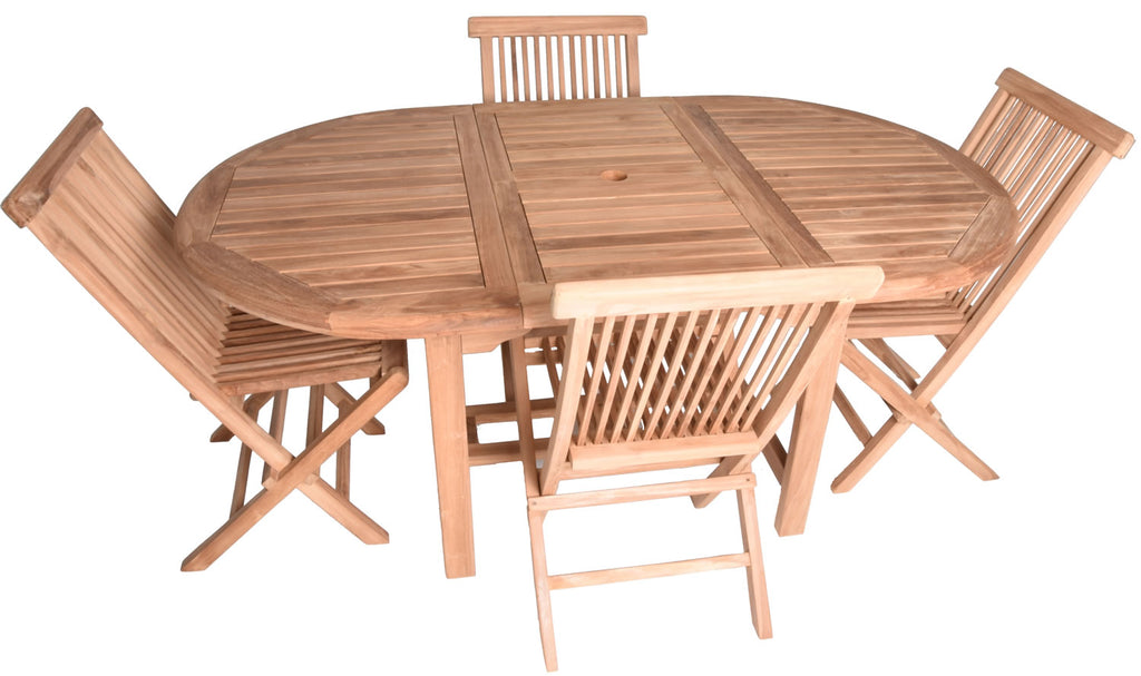 Zenvida 5 Piece Teak Extendable Dining Table Set