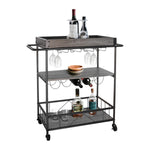 Zenvida Bar Cart Mobile Kitchen Serving Cart Tray Portable Rustic Industrial Vintage Metal Rolling Trolley