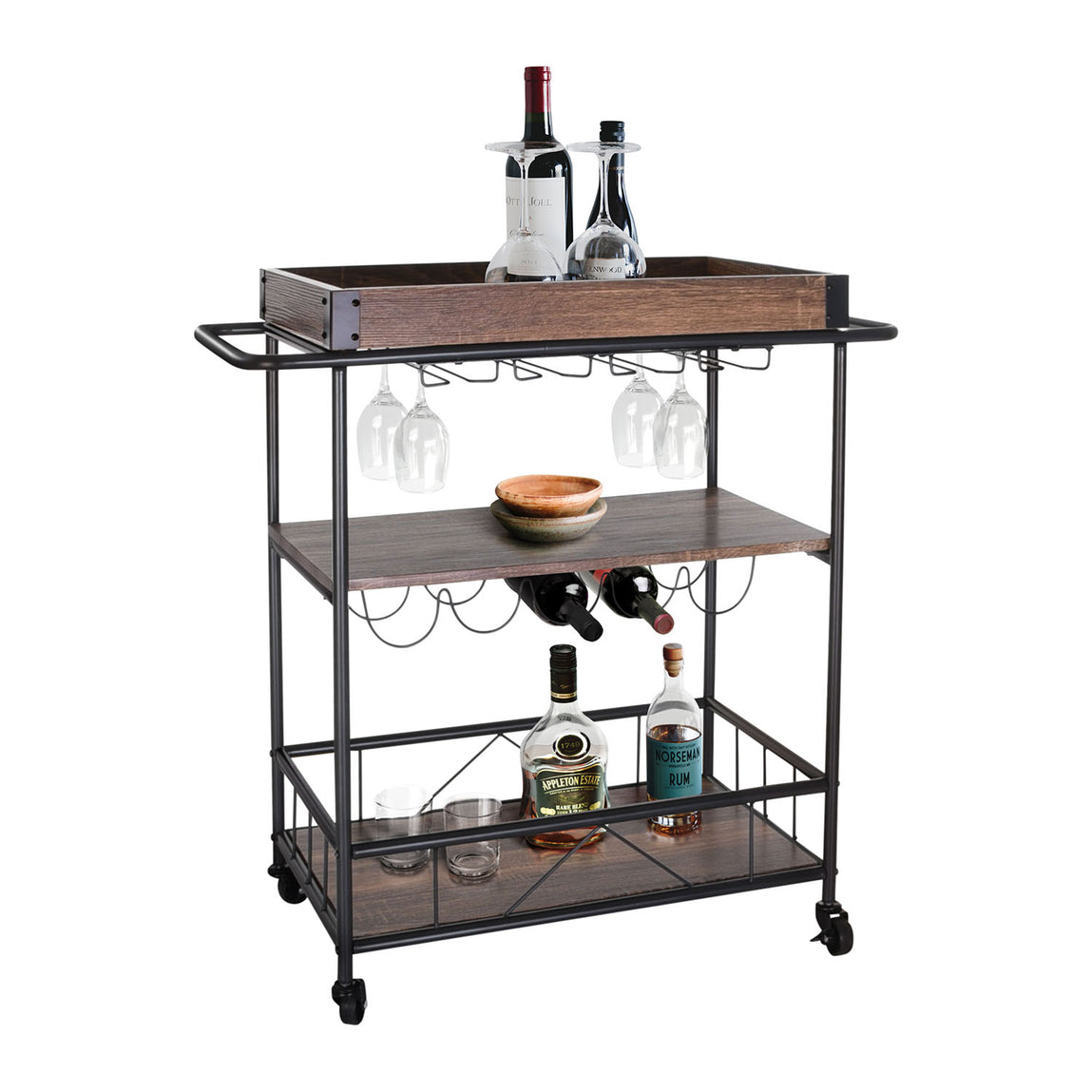 Zenvida Bar Cart Mobile Kitchen Serving Cart Tray Portable Rustic Indu Roadbikeoutlet