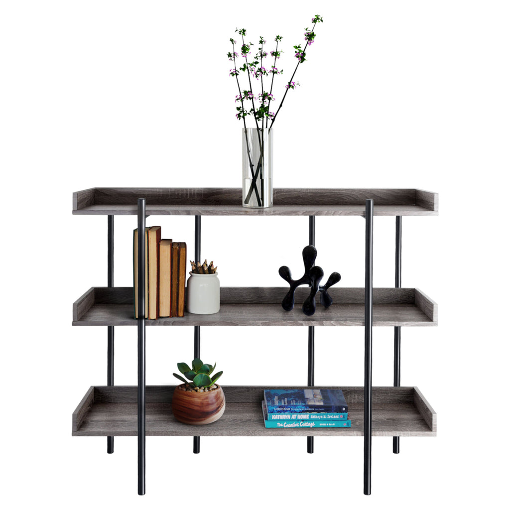Zenvida Modern Bookcase Industrial 3 Tier Open Metal Etagere Freestanding Bookshelf for Home, Office Storage Display