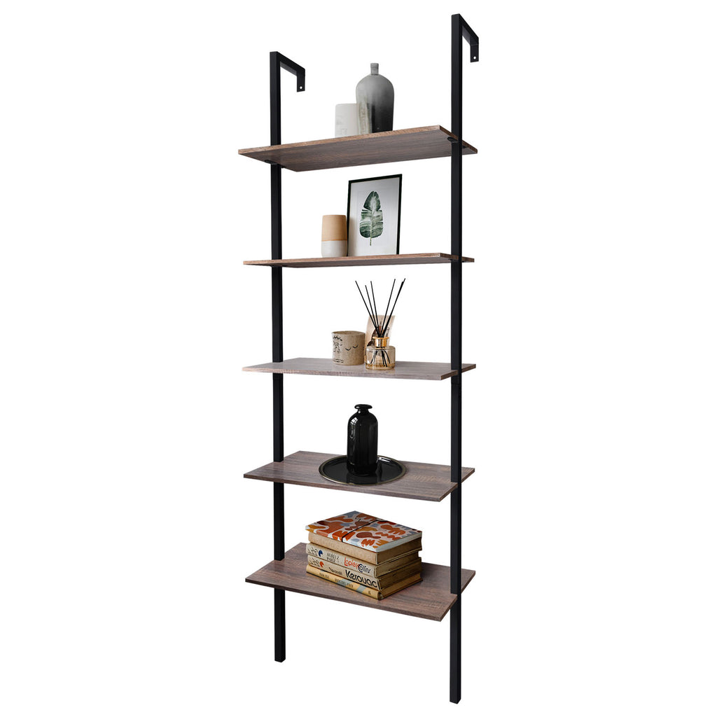 "Zenvida 5-Shelf Modern Bookcase Wall Mount 72"" Ladder Bookshelf Industrial Metal Frame Open Shelves For Home Office"