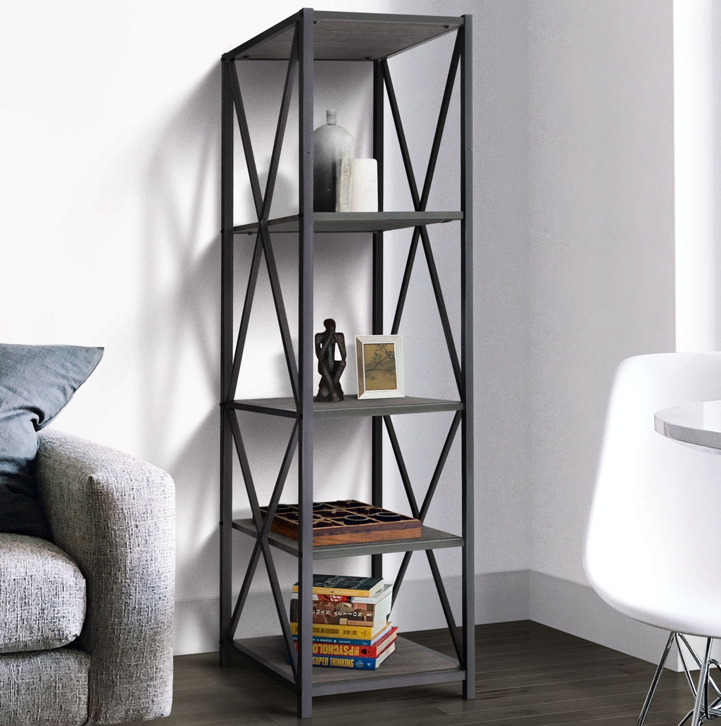 Zenvida Bookshelf 5-Tier Industrial Metal Wood Modern Etagere Tall Bookcase Open Display Shelves Organizer
