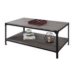 "Zenvida 48"" Coffee Table With Storage Shelf Rectangular Industrial Modern Metal Frame Cocktail Table for Living Room"