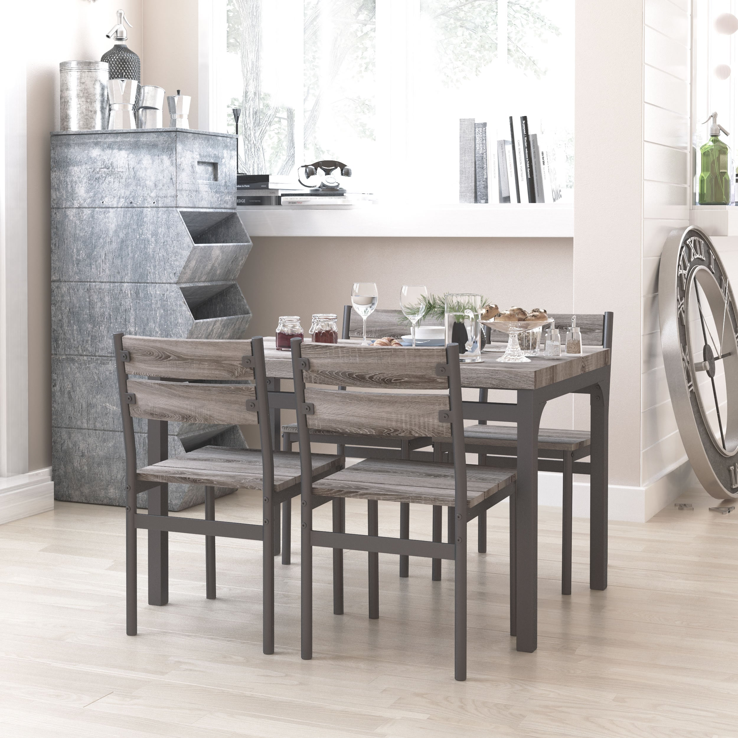 Picture of: Zenvida 5 Piece Dining Set Breakfast Nook Table And 4 Chairs Rusti Roadbikeoutlet