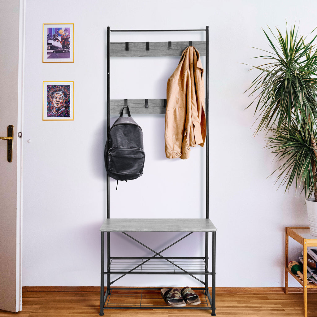 Zenvida Hall Tree Entryway Bench Shoe Storage Coat Rack Shelves Metal Frame Wood