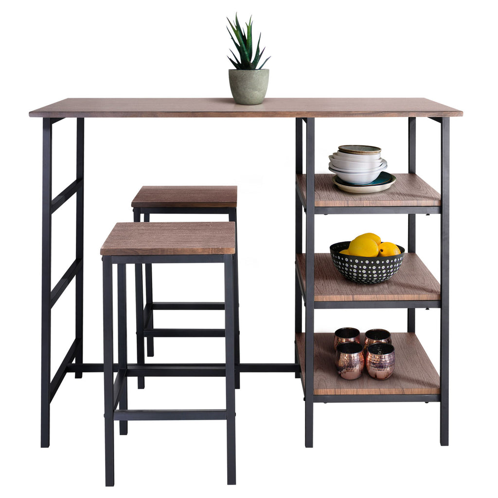 Zenvida Pub Table Set 3 Piece, 2 Stools Space Space Saver Kitchen Island With Storage Shelves Breakfast Coffee Bar Bistro