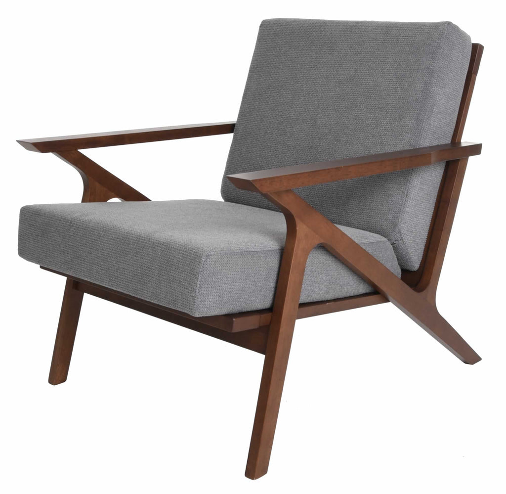 Mid Century Modern Armchair Solid Hardwood Upholstered Accent Chair