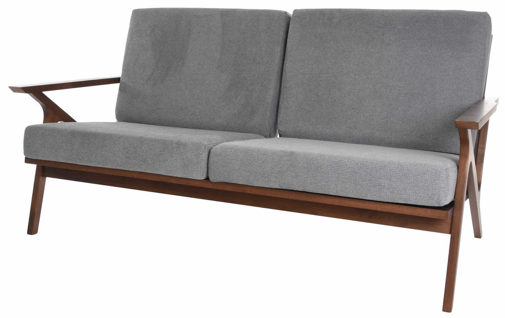 Zenvida Mid Century Modern Loveseat and Chair 2 Piece Living Room Set Retro Wood Frame Sofa and Accent Chair