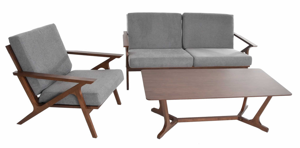 Mid Century Modern Living Room Set Love Seat Accent Chair Coffee Table 3 Piece Retro Furniture