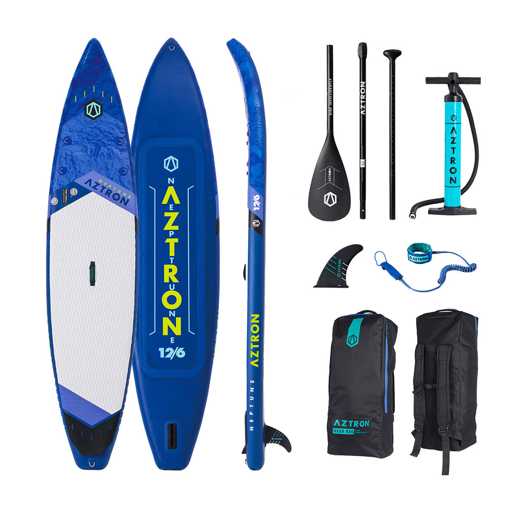 "Aztron NEPTUNE Inflatable Stand up Paddle Board Touring 12'6"" Double Chamber & Layer with Adjustable Aluminum Paddle and Leash"