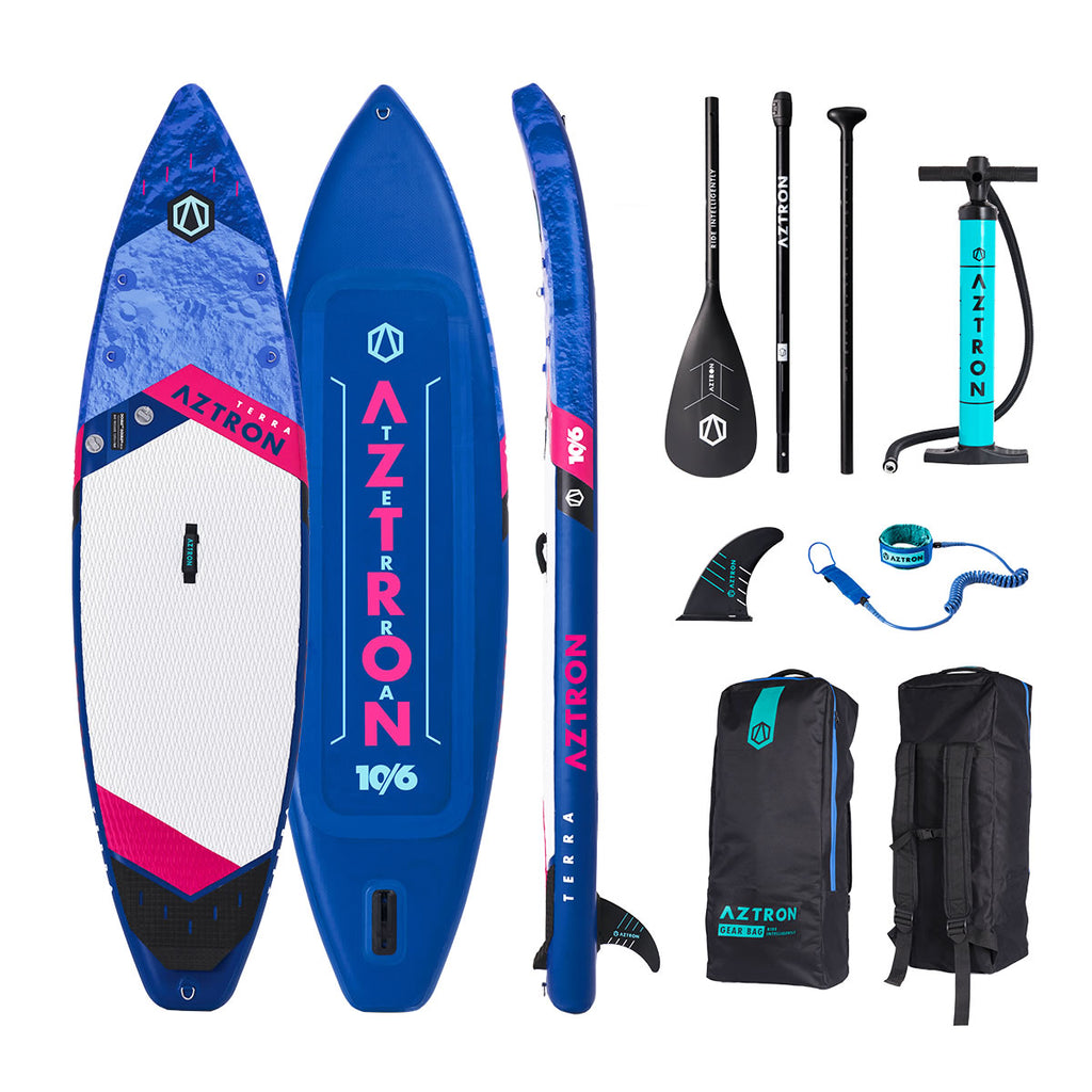 "Aztron TERRA Inflatable Stand Up Paddle Board SUP Touring 10'6"" Double Chamber, Double Layer  with Adjustable Aluminum Paddle and Leash"