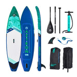 "Aztron URONO  Inflatable Stand Up Paddle Board 11' 6"" Touring SUP Double Chamber & Layer with Adjustable Aluminum Paddle and Leash"