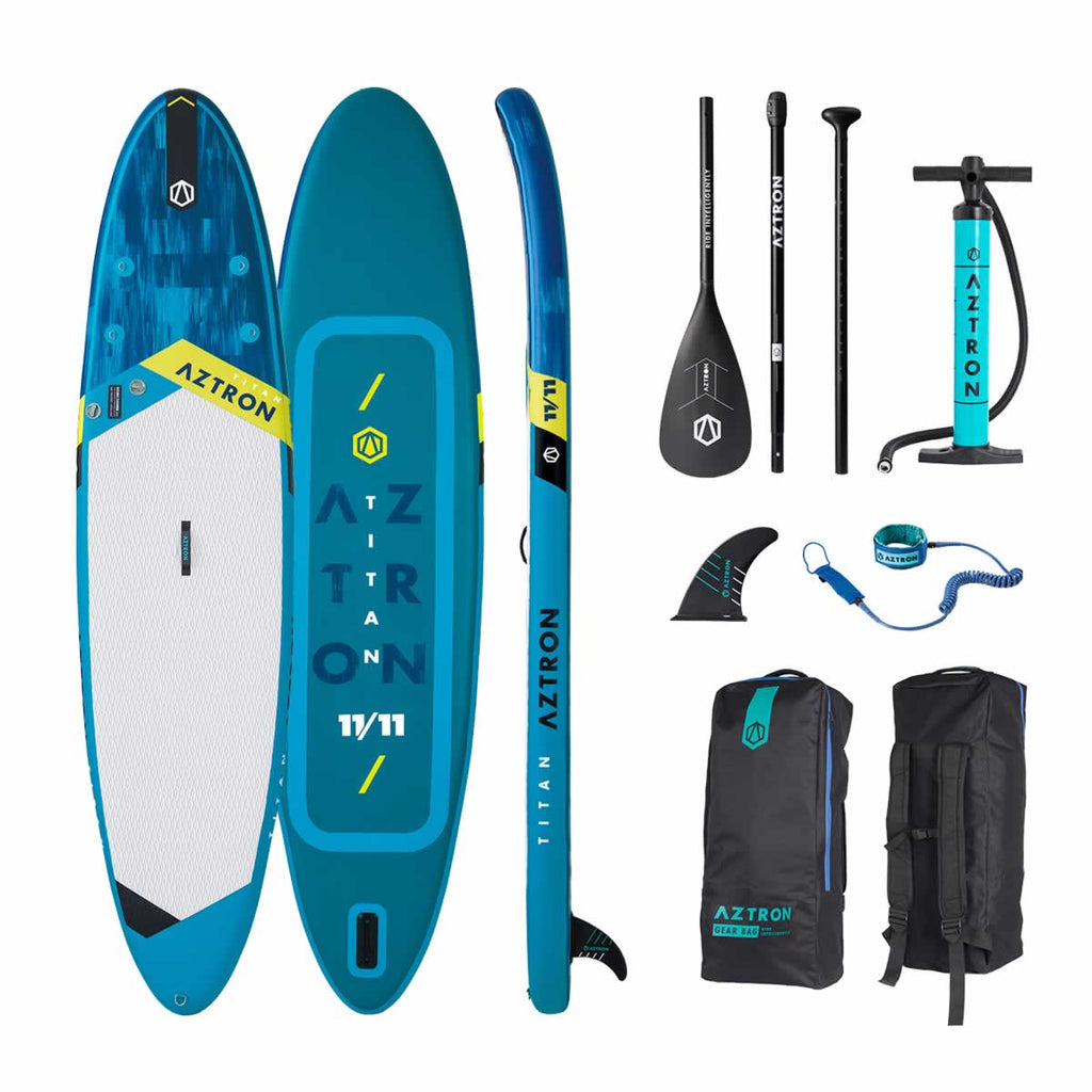 "Aztron TITAN All Around Inflatable SUP Board 11'11""  incl. Adjustable Aluminum Paddle and Leash"