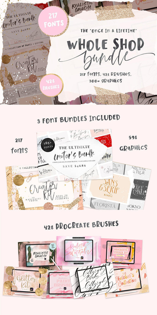 WHOLE SHOP BUNDLE | FONT BUNDLE & PROCREATE BRUSHES