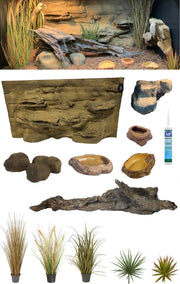Alice Springs – 4 Foot Reptile Décor Kit with Artificial Plants