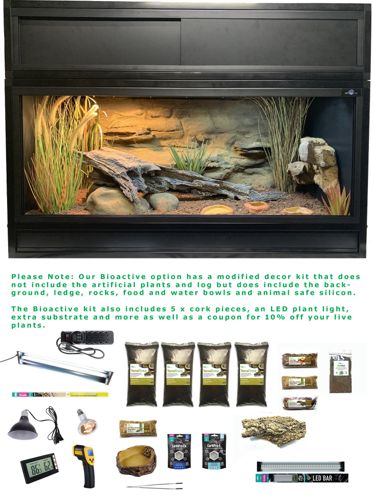 The Works Bioactive - Complete Ball Python Kit with Essential 4 Enclosure, Modified Decor Kit, Hood and Bioactive Setup