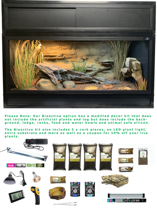 The Works Bioactive - Complete Corn Snake Kit with Essential 4 Enclosure, Modified Decor Kit, Hood and Bioactive Setup
