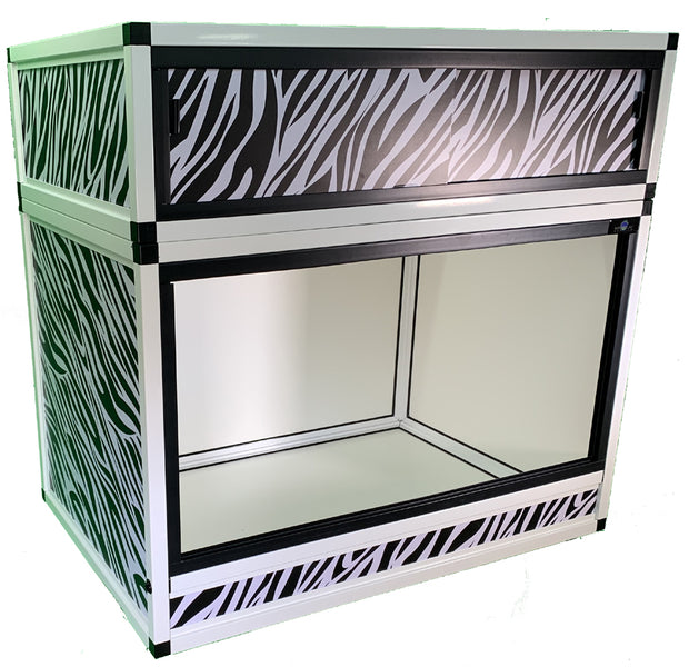 Reptile Enclosure Wraps - Zebra with Hood