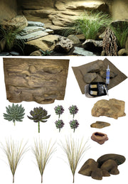 Rocky Canyon Deluxe – 3 Foot Reptile Décor Kit with Plants