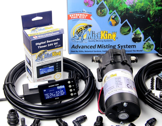 Closeup of the Advanced Misting System pump and seconds timer
