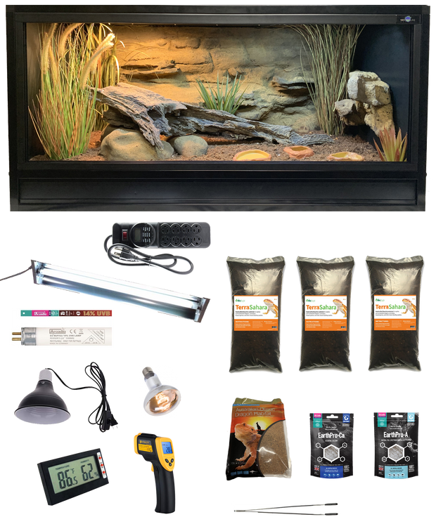 Complete Bearded Dragon Kit with Essential 4 Enclosure and Decor Kit
