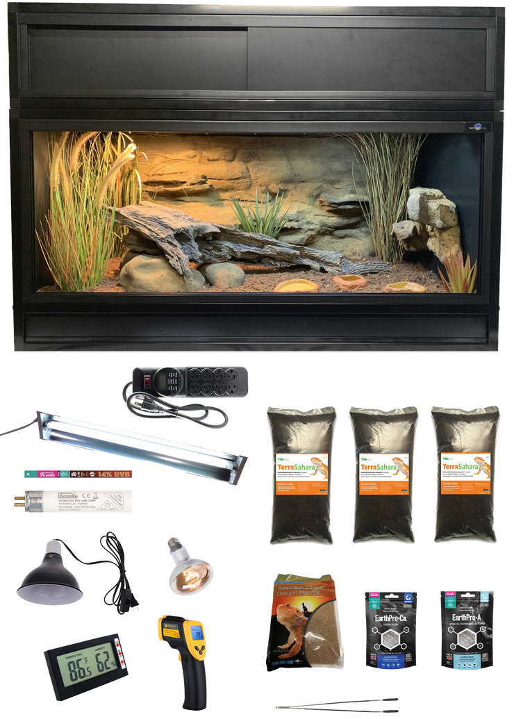 The Works - Complete Bearded Dragon Kit with Essential 4 Enclosure, Decor Kit and Hood