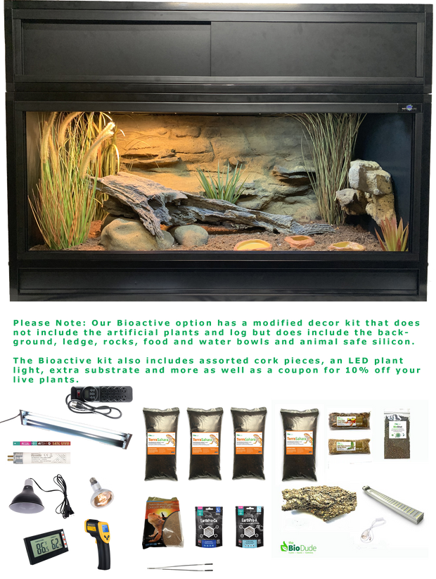 The Works Bioactive - Complete Bearded Dragon Kit with Essential 4 Enclosure, Modified Decor Kit, Hood and Bioactive Setup